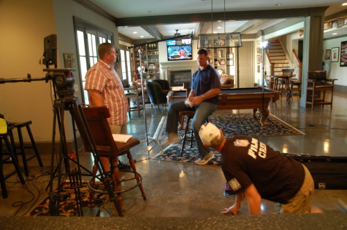 NFL Quarterback Brad Johnson interview for NFL Films. That's producer Steve Lucatuorto on the left, and St. Petersburg DP Dave Barrett
