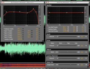 The parametric EQ and mastering screens in Adobe Soundbooth