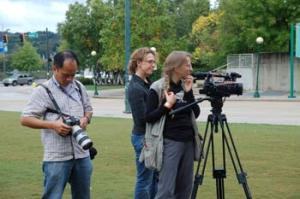 CNN production team from Loki Films. L-R, Ted Pio Roda, CNN photographer, Rachel Grady, director/producer, and  Julia Dengel, DP
