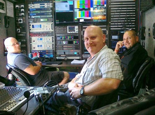 In Encompass Five sat production truck. We're smiling because we're done. Left to right,  engineer Shaun Flowers, Brian Gilbert, and  engineer Alan Rogers.
