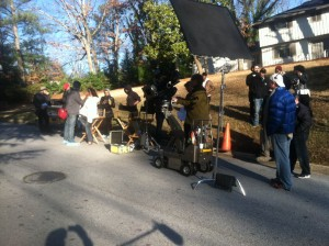 Day one on the Fat Hair set. We had a larger crew than I normally work with, around 30 people. Cold, but thankfully sunny.