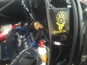 My bag in position inside Tanner Faust's Jetta.