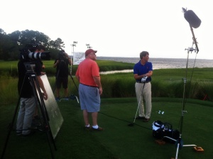 Shooting for Bloomberg with golf pro Todd Anderson.