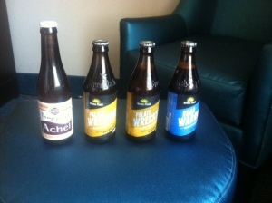 "A selection of ""mixer's oil,"" some high-gravity beer from the place across the street"